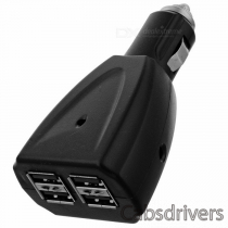 USB 4-port 500mA Car Adapter