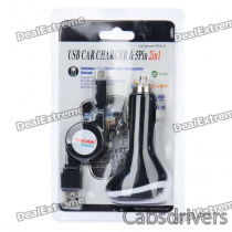 Car Cigarette Powered USB Adapter/Charger with Retractable USB to Micro USB Cable (Black)