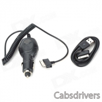Car Charger + USB Charging/Data Cable Set for Samsung P1000 - Black (12-24V)