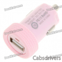 Car Cigarette Powered 1000mA USB Adapter/Charger - Pink (DC 12V/24V)