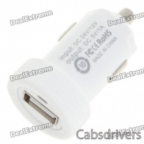 Car Cigarette Powered 1000mA USB Adapter/Charger - White (DC 12V/24V)