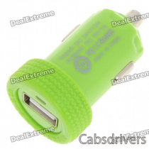 Car Cigarette Powered 1000mA USB Adapter/Charger - Green (DC 12V/24V)