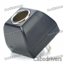 AC 100~240V to Car Cigarette Lighter DC 12V Power Adapter (2-Flat-Pin Plug)