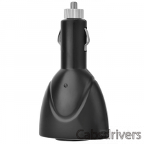 Dual USB Car Charger with Cigarette Lighter Socket - Black (DC 12V-24V)