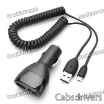 Genuine HTC Dual USB Car Cigarette Lighter Power Adapter w/ Charging Cable (DC 10~30)