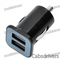 Dual USB Car Cigarette Powered Charger - Black (DC 12~24V)