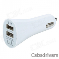 Mini Dual USB Car Cigarette Lighter Charger for Iphone / Ipad - White (DC 12~24V)