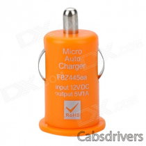Mini USB 2.0 Car Cigarette Lighter Power Adapter for Iphone / HTC / Nokia - Orange (12V)