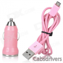 V8 Car Cigarette Powered Charging Adapter w/ USB Cable for HTC / Samsung / Motorola - Pink