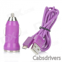 V8 Car Cigarette Powered Charging Adapter w/ USB Cable for HTC / Samsung / Motorola - Purple