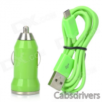 V8 Car Cigarette Powered Charging Adapter w/ USB Cable for HTC / Samsung / Motorola - Green