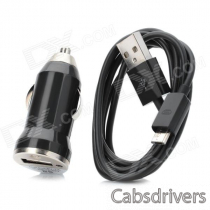 V8 Car Cigarette Powered Charging Adapter w/ USB Cable for HTC / Samsung / Motorola - Black