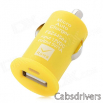 USB Car Cigarette Lighter Power Adapter / Charger - Yellow (12V)