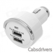 Dual USB Car Cigarette Powered Charger for Ipad / Iphone - White (12~24V)
