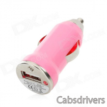 WP009 Portable USB Car Cigarette Lighter Power Adapter / Charger - Pink (11~24V)