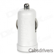 i-Mill Dual USB 5V 3A Car Cigarette Charger for Iphone 5 / Ipad 2 / Android + More - White