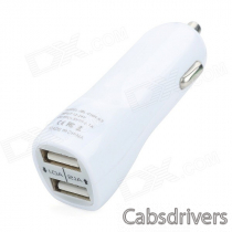 Dual-USB Car Charger Adapter for Iphone - White (12V~24V)
