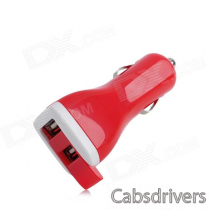 Dual USB Car Cigarette Powered Charger for Ipod + Iphone + Ipad - Red (12~24V)