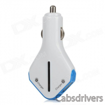 Riveman TY-D02-LANSE Universal Dual USB Car Charger - White + Blue