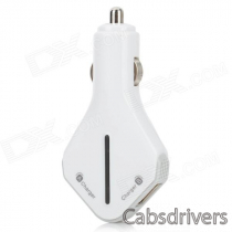 Riveman Car Cigarette Powered Charging Adapter Charger w/ Dual USB Output for Cell Phone - White