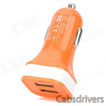 MOMAX Convenient Universal Dual Female USB Output Car Charger for Cellphone - Orange