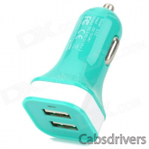 MOMAX Convenient Universal Dual Female USB Output Car Charger for Cellphone - Green
