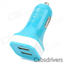 MOMAX Convenient Universal Dual Female USB Output Car Charger for Cellphone - Blue