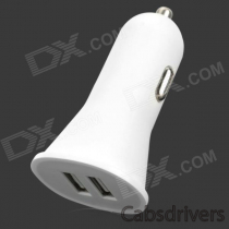 KHX-XLB-8 Convenient Portable Universal 2.1A Dual Female USB Output Car Charger - White