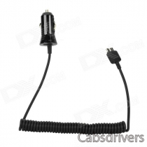 Car Cigarette Lighter Charger w/ Spring Wire for Samsung Note 3 N9000 - Black