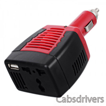 Multifunction 12V DC to 220V AC Car Power Inverter - Black + Red