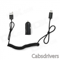 Car Cigarette Powered Charger w/ USB Male to Micro USB Male Flexible Data Cable for Samsung - Black