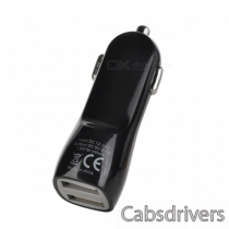 Dual-USB Car Cigarette Lighter Charger Power Adapter for Iphone - Black (DC 12~24V)