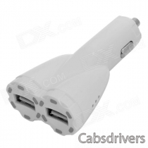 Dual-USB Car Cigarette Lighter Power Adapter w/ Smart LED Indicator - White (DC 12~24V)