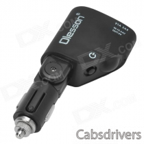 90 Degree Rotational Dual-USB Car Cigarette Lighter Charger Power Adapter - Black