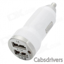 Car Cigarette Powered Charging Adapter Charger w/ Dual USB Output - White (12~24V)