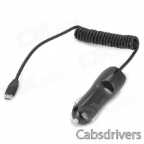 Universal Convenient Car Charger w/ Micro USB Cable + Female USB Output for Cellphone - Black