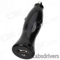 1A Car Cigarette Powered Charging Adapter Charger w/ USB Output for Iphone / Samsung / HTC - Black