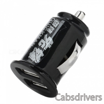 2U-01 Mini Car Cigarette Powered Charging Adapter w/ Double USB Output - Black