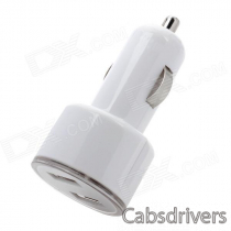 Mini Dual USB Car Power Charger w/ Blue LED - White (12~24V)