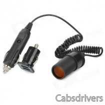 Dual-USB Car Charger Adapter + Car Cigarette Lighter Socket for Ipad / Iphone - Black