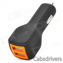 Universal Dual Female USB Output ABS Car Charger - Black