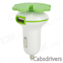F5 Lucky Four Leaf Style Double USB Car Charger - White + Green (12~24V)