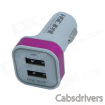 HSC YC-150 Dual-USB Car Cigarette Lighter Power Charger - White + Deep Pink (DC 12~24V)