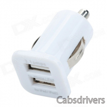 C-07 Dual-USB Output Car Cigarette Lighter Charger for Mobile Phone / MP3 - White (12~24V)