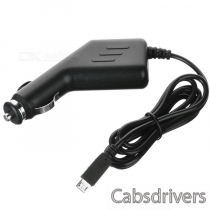 12~24V Portable Universal Car charger w/ Micro USB Output Cable for Samsung Cellphone + More - Black