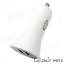 Dual USB Car Cigarette Lighter Plug Power Charger for Iphone - White (DC 12~24V)