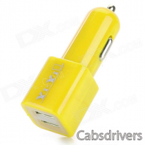 Dual USB 5V 2100mA Car Charger w/ USB 3.0 Cable for Samsung Galaxy Note 3 - Yellow (12~24V)