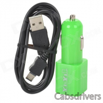 Dual-USB Car Charger Adapter + Micro USB Data Charging Cable for LG Nexus 5 - Green + Black