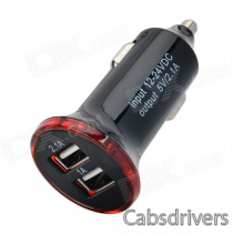 Dual USB 2.0 5V 2.1A / 1A Car Cigarette Lighter Charger w/ LED - Black + Red (12~24V)