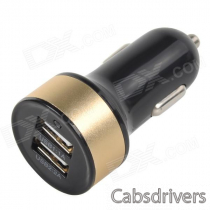 Double USB Power Car Cigarette Lighter Plug Charging Adapter - Black + Silver (12~18V)